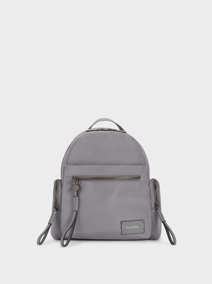 Nylon Backpack With Outside Pockets, Grey, hi-res