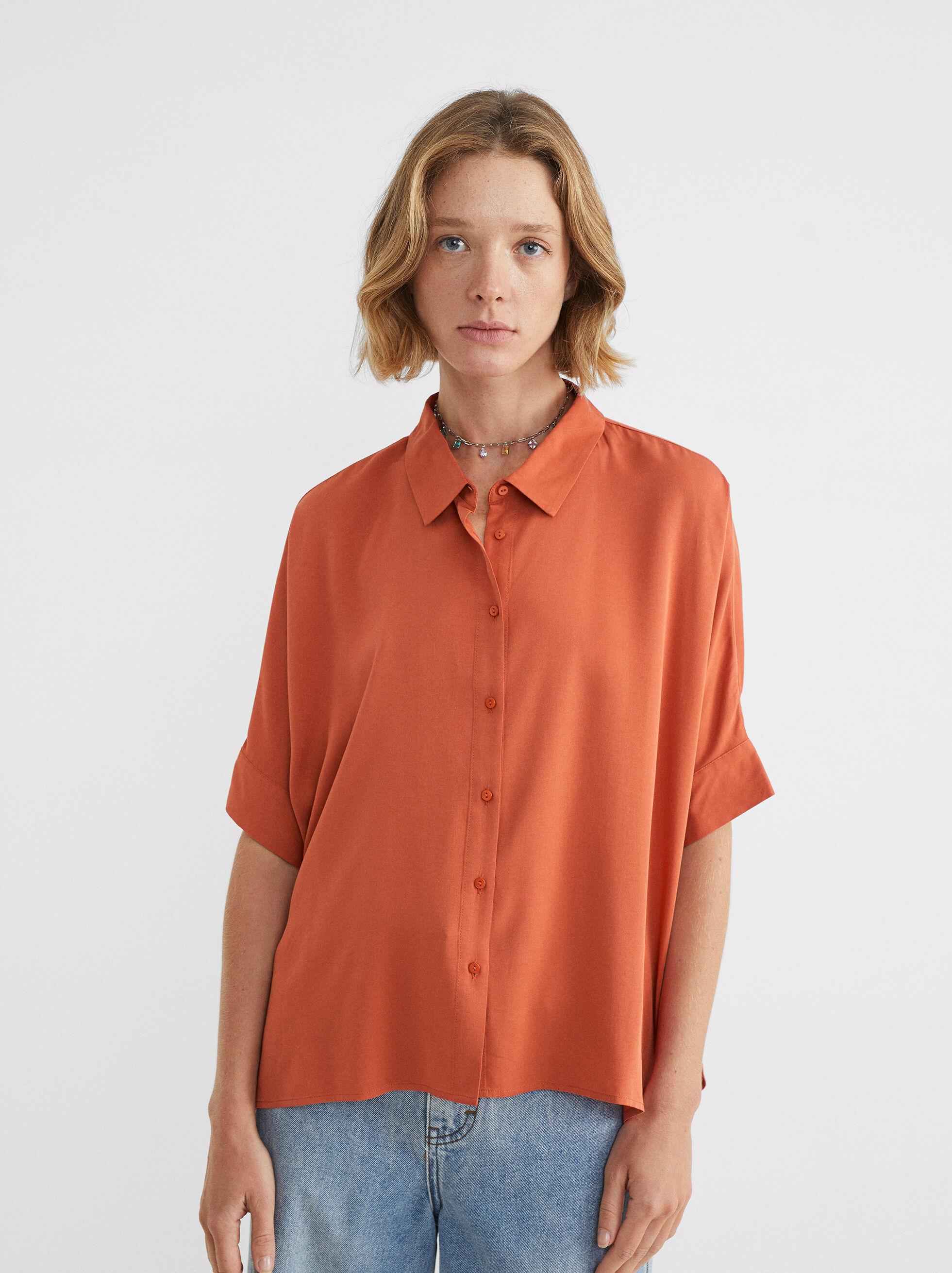 Camicia Oversize, Arancione, hi-res
