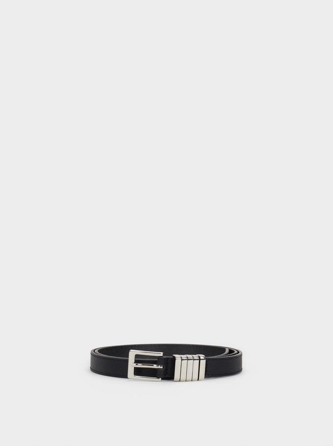 Belt With Metal Detail, Black, hi-res