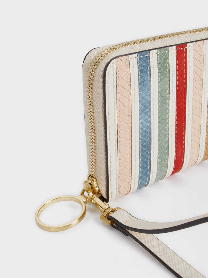 Multicoloured Patchwork Striped Wallet, Ecru, hi-res