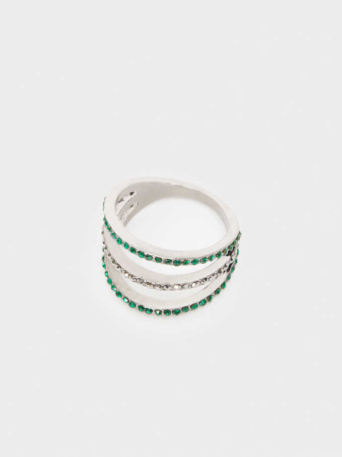 Hoop Ring With Crystals, Green, hi-res