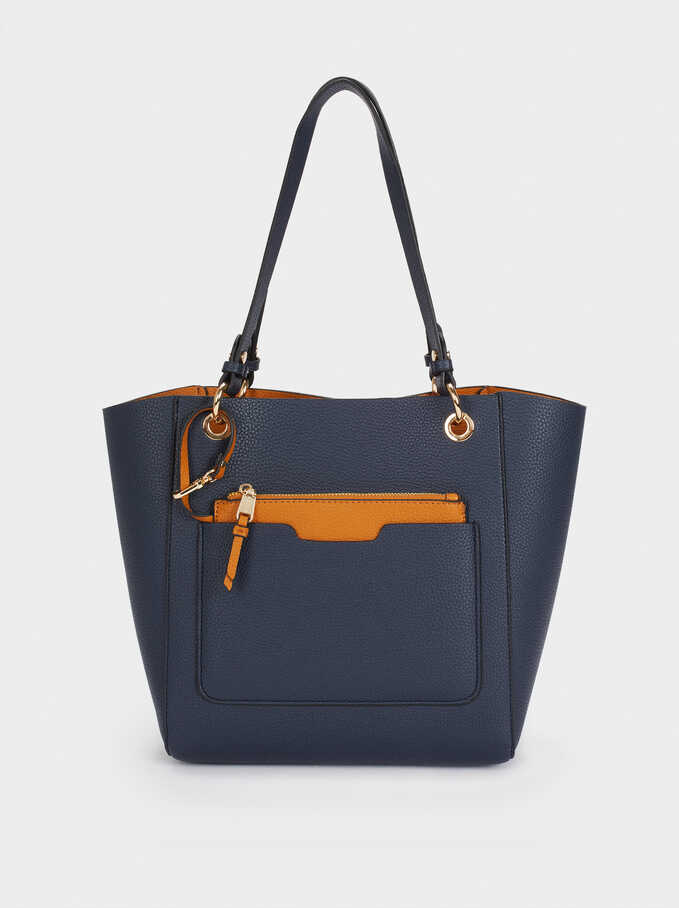 Reversible Tote Bag With Removable Inner Section, Navy, hi-res