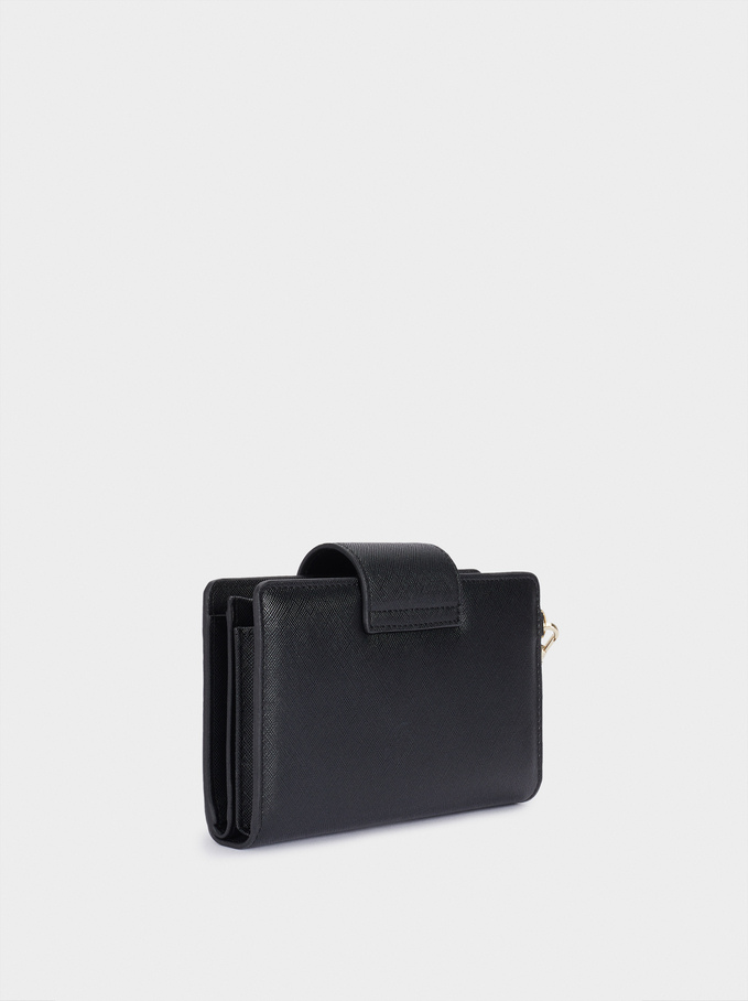 Embossed Wallet With Handle, Black, hi-res