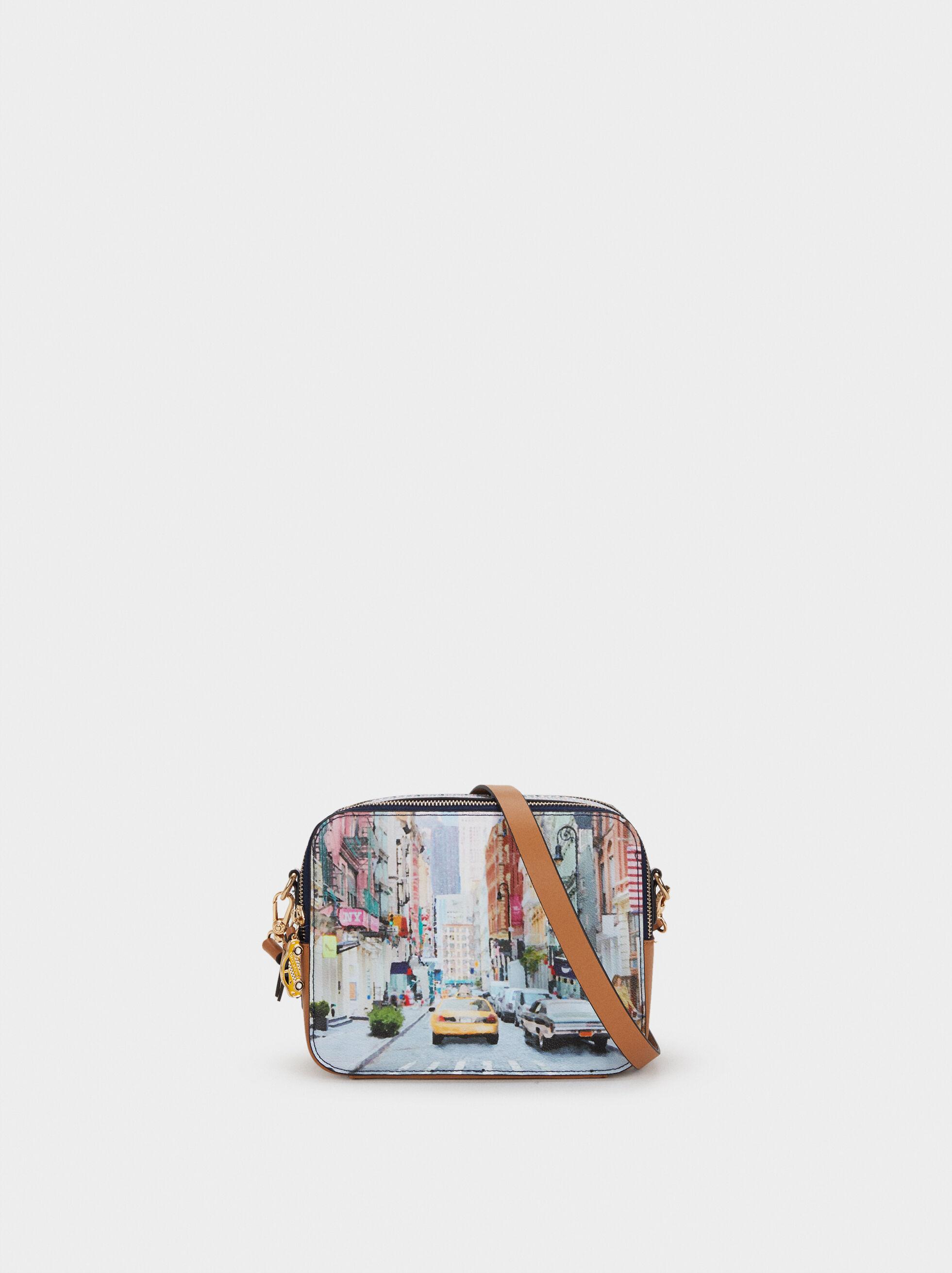 New York Print Shoulder Bag, Camel, hi-res