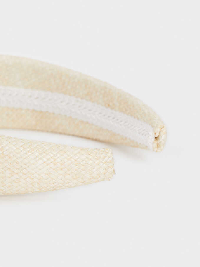 Raffia Rigid Headband, Beige, hi-res