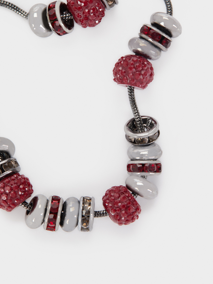 Adjustable Bracelet With Multicoloured Crystals, Bordeaux, hi-res