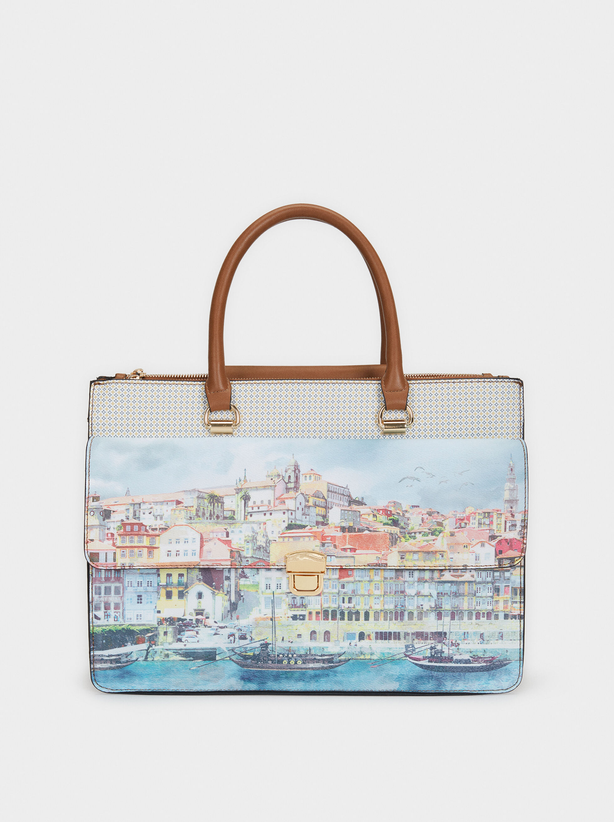 Porto Print Briefcase, Blue, hi-res