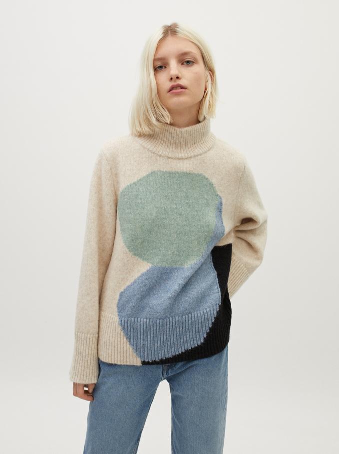 High-Neck Knit Sweater, Ecru, hi-res