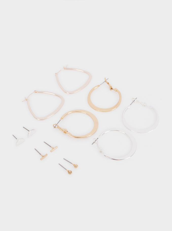 Multicoloured Hoop Earrings Set, Multicolor, hi-res