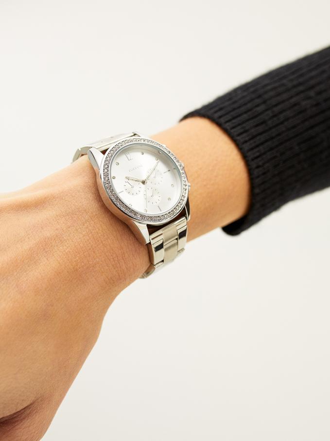 Zegarek Ze Stalowym Paskiem I Tarcza Z Cyrkoniami, Srebrny, hi-res
