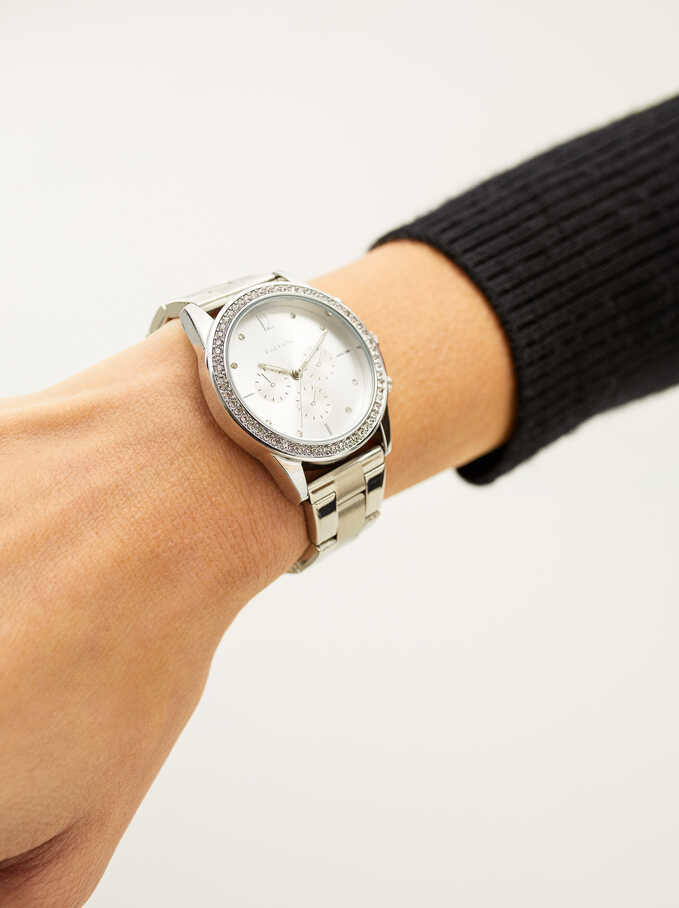 Steel Strap Watch With Brilliant Dial, Silver, hi-res