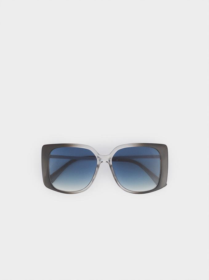 Sunglasses With Square-Cut Frames, Grey, hi-res