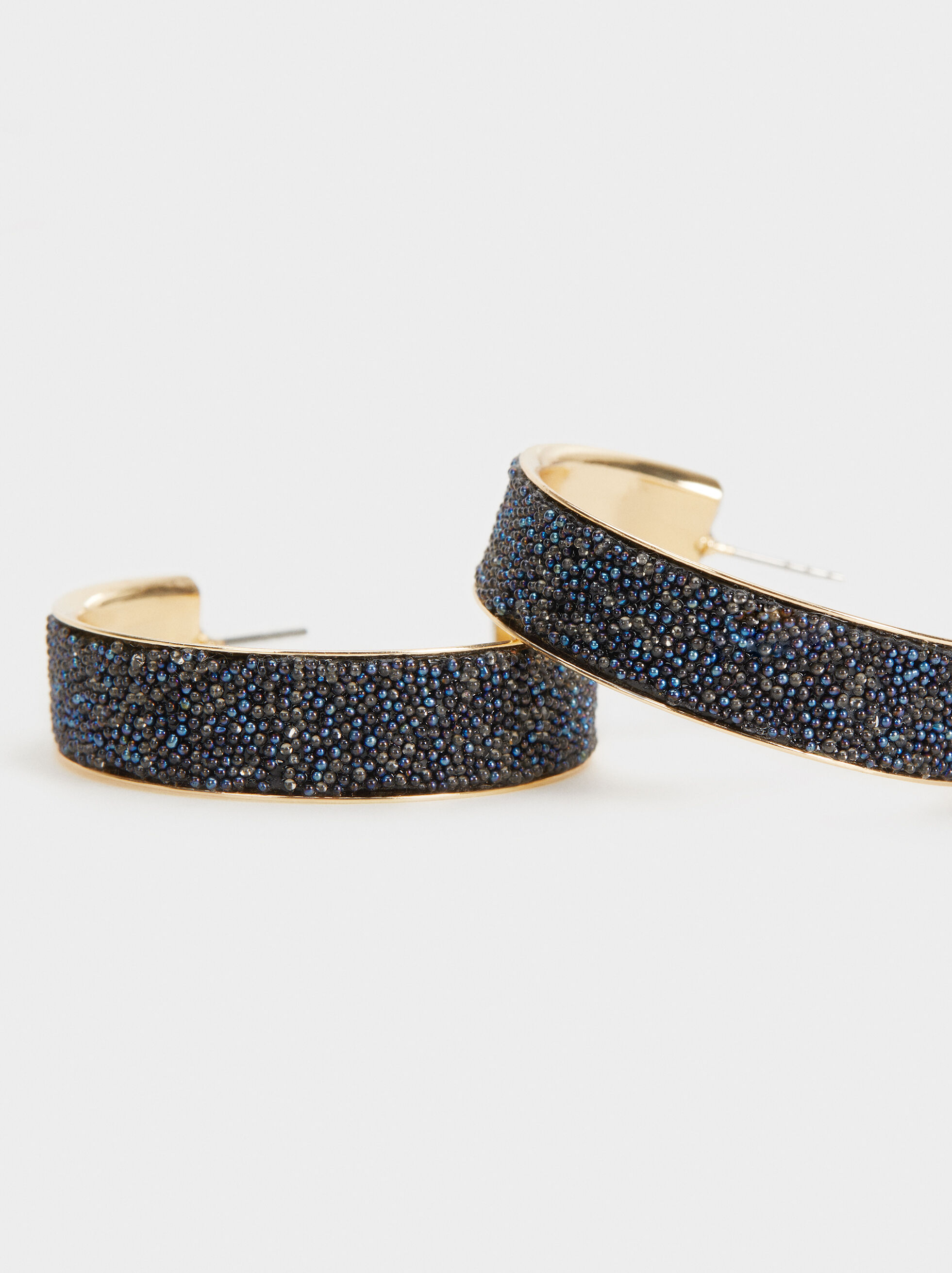 Savage Sparkle Medium Hoop Earrings, Blue, hi-res
