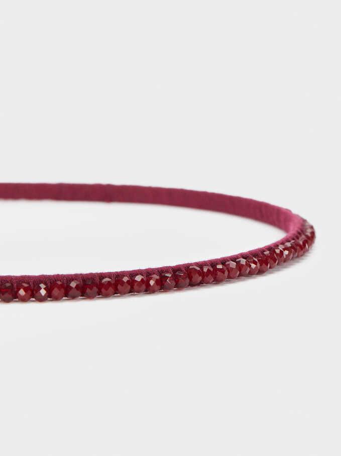 Thin Headband With Beads, Bordeaux, hi-res