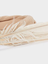 Headband With Feather Detail, Beige, hi-res