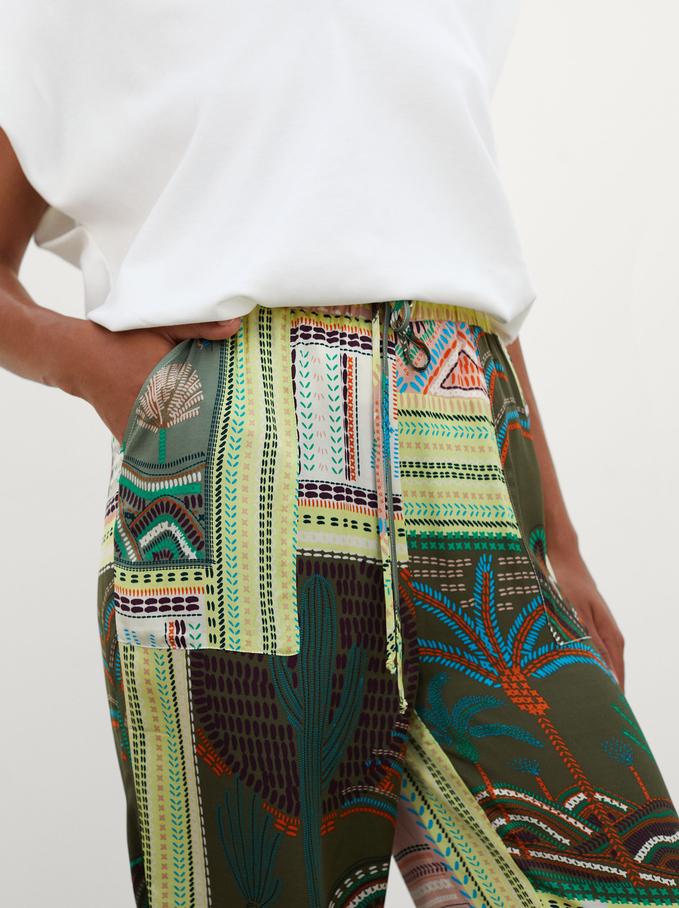 Pantalón Ancho Estampado, Multicor, hi-res