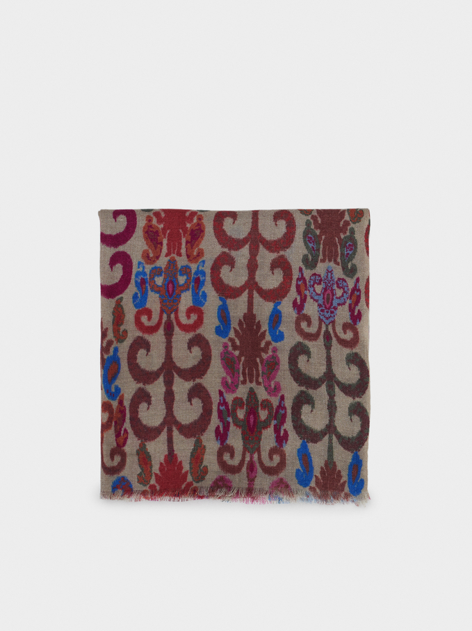 Printed Wool Scarf, Pink, hi-res