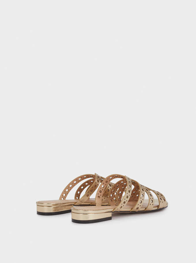 Flat Metallic Sandals With Perforated Detail, Golden, hi-res