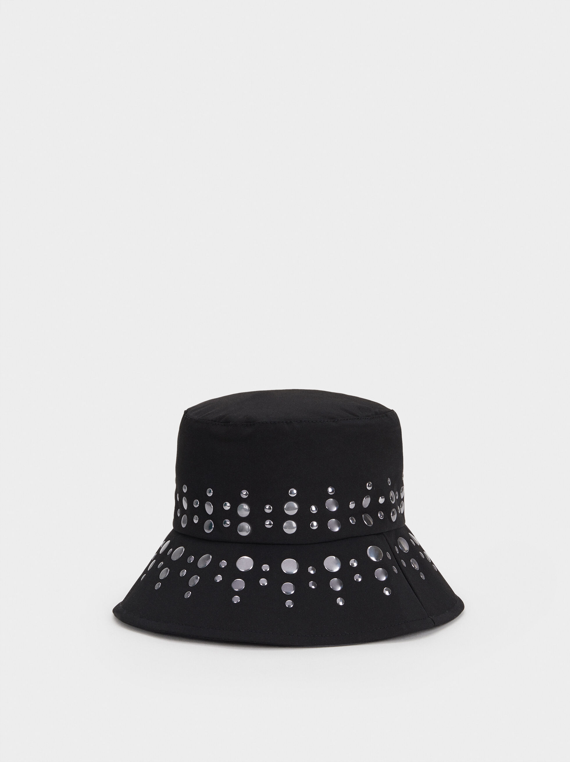 Hat With Stud Detail, Black, hi-res
