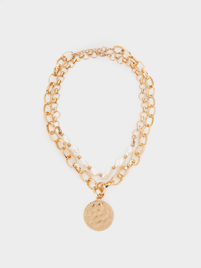 Set Of Contrasting Necklaces With Pearl, Golden, hi-res