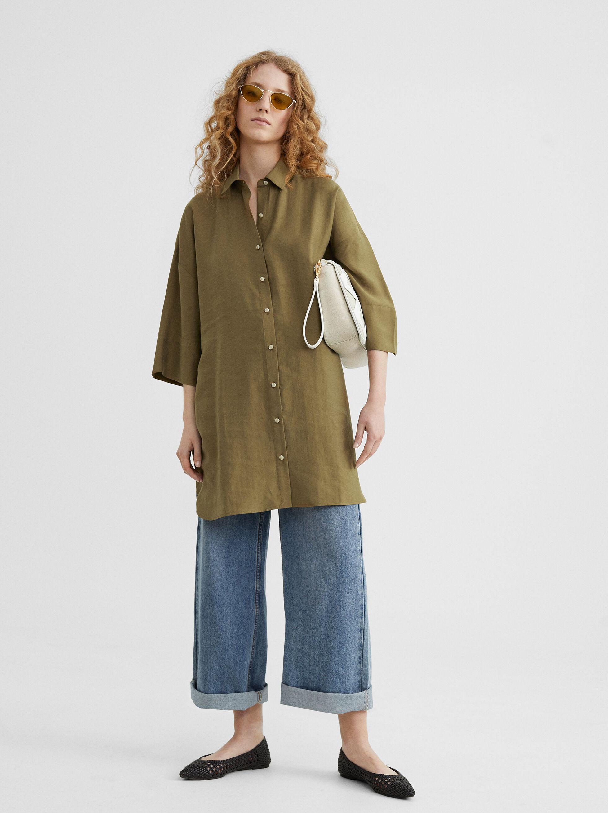 Plain Shirt Dress, Khaki, hi-res
