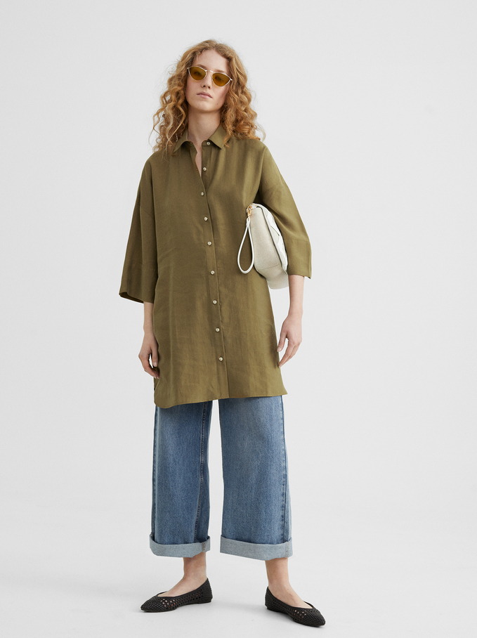 Plain Shirt Dress, Khaki, hi-res