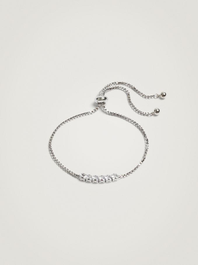 Adjustable Bracelet With Crystals, Silver, hi-res