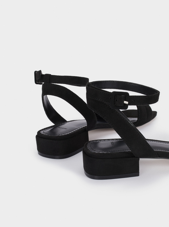 Flat Sandals With Ankle Strap, Black, hi-res