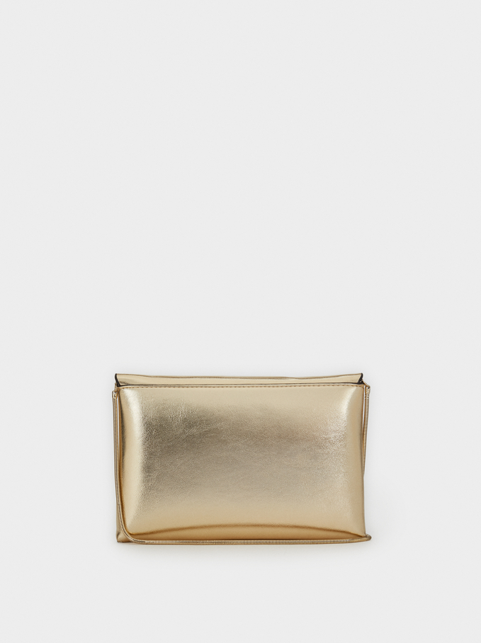Party Clutch With Chain Strap, Golden, hi-res