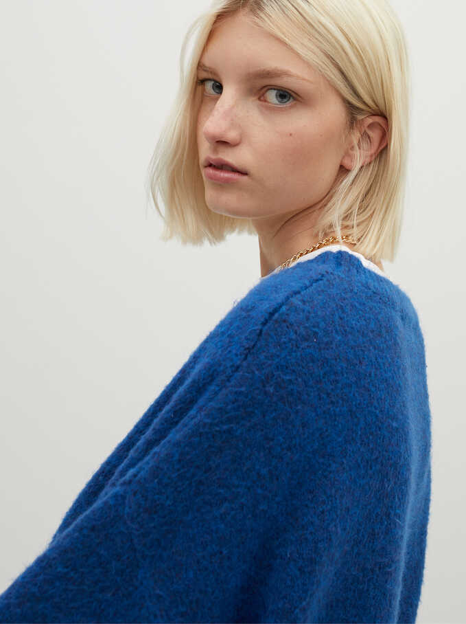 V-Neck Knit Sweater, Blue, hi-res