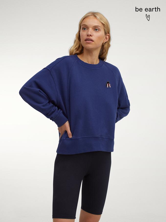 100% Cotton Sweatshirt, Navy, hi-res
