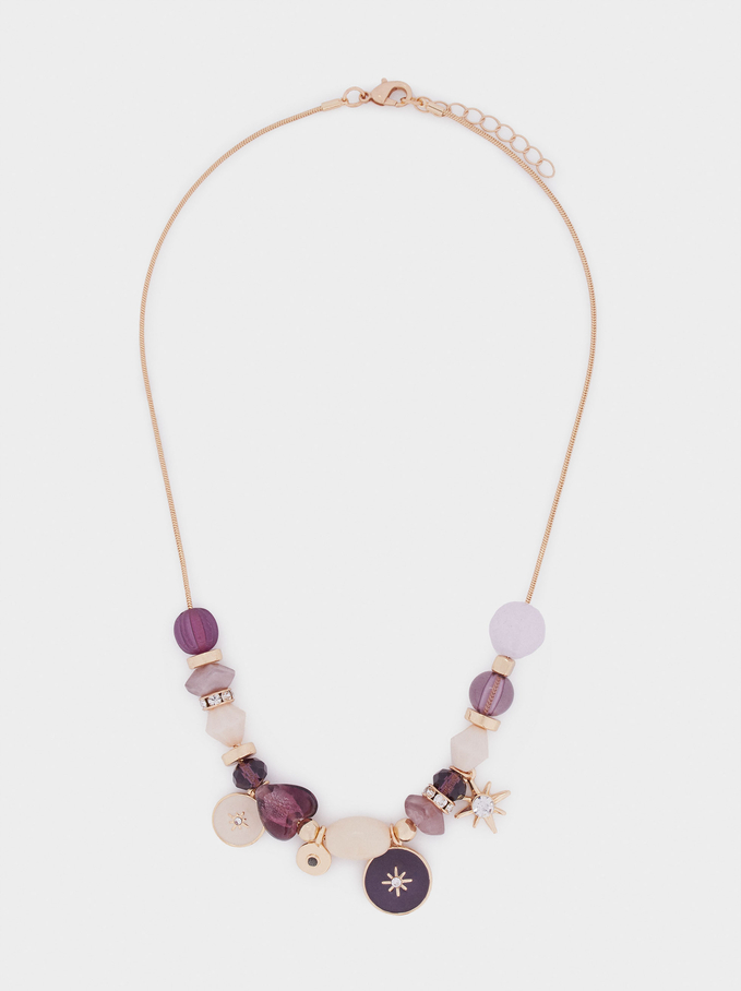 Stone And Charms Short Necklace, Multicolor, hi-res