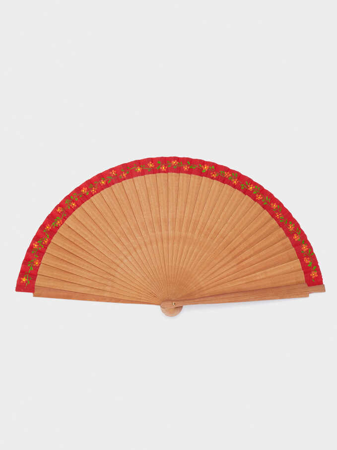 Fan With Floral Detail, Brown, hi-res