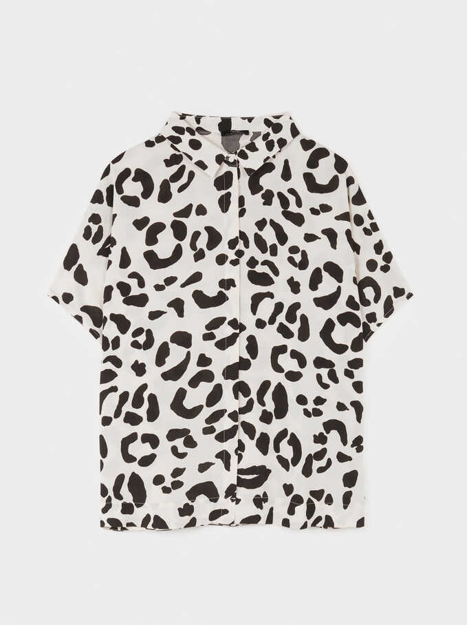 Camisa Oversize Estampado Animal, Crudo, hi-res