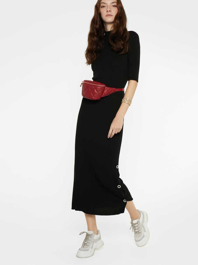 Buttons Detail Dress, Black, hi-res