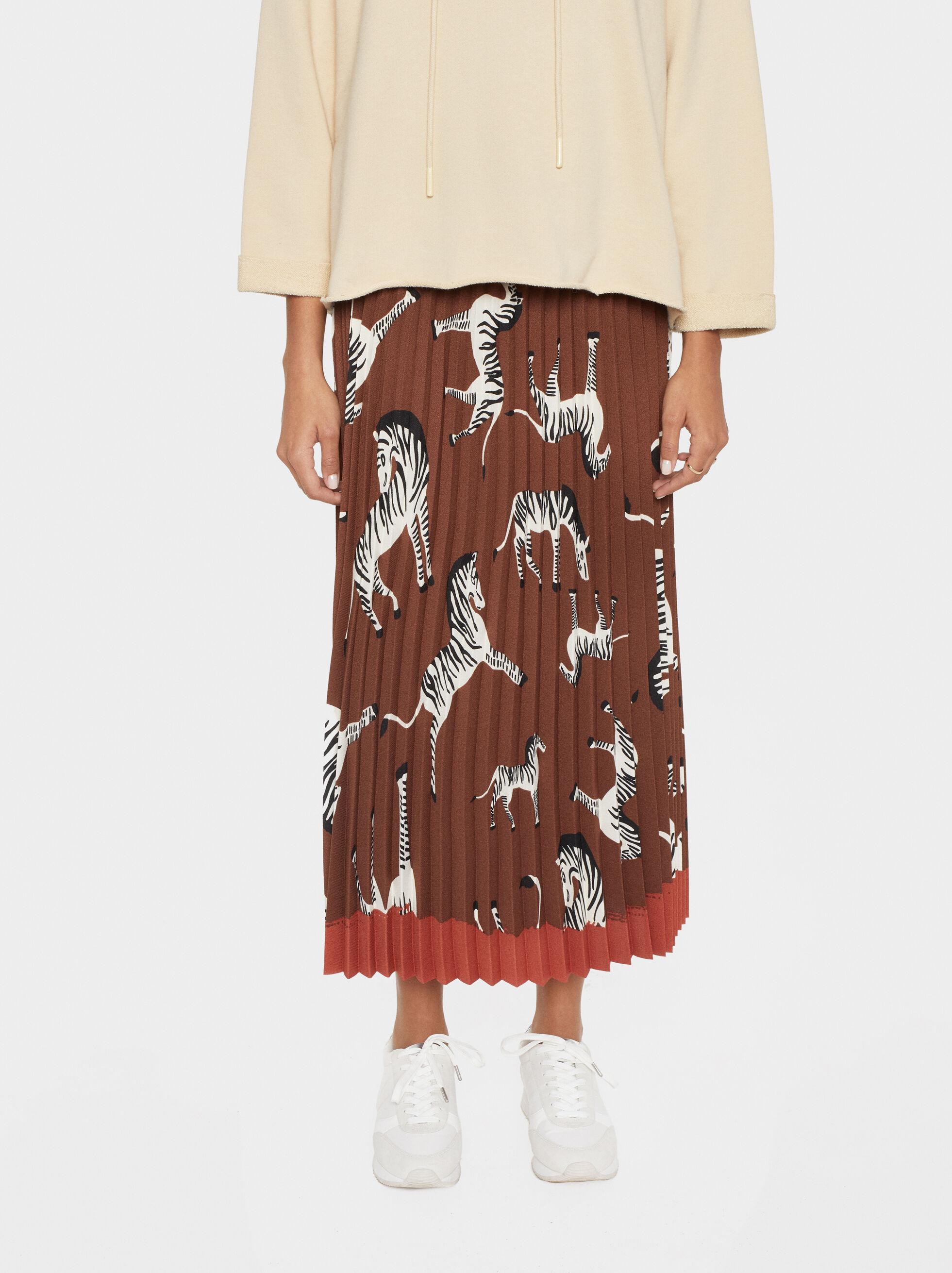 Zebra Print Pleated Skirt, Brown, hi-res
