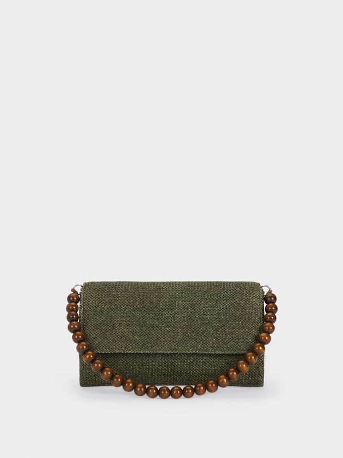 Braided Envelope Party Bag, Khaki, hi-res