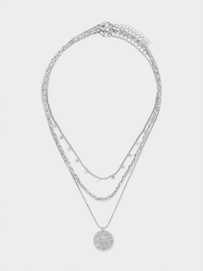 Set Of Contrast Medallion Necklaces, Silver, hi-res