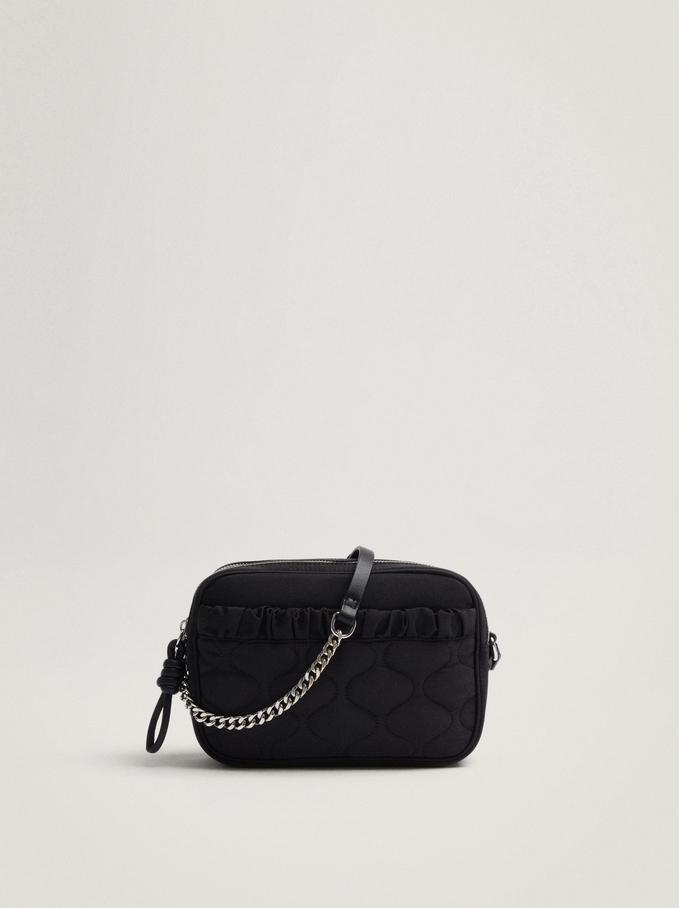 Nylon Crossbody Bag With Pleats, Black, hi-res