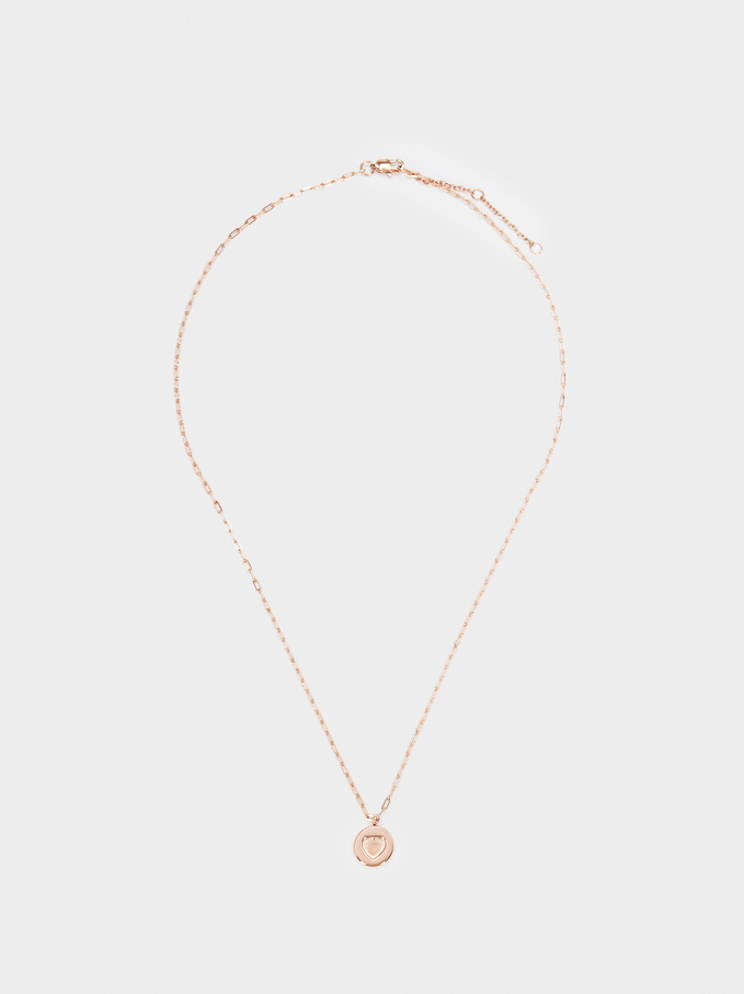 Stainless Steel Rose Gold Short Necklace With Heart Charm, Orange, hi-res