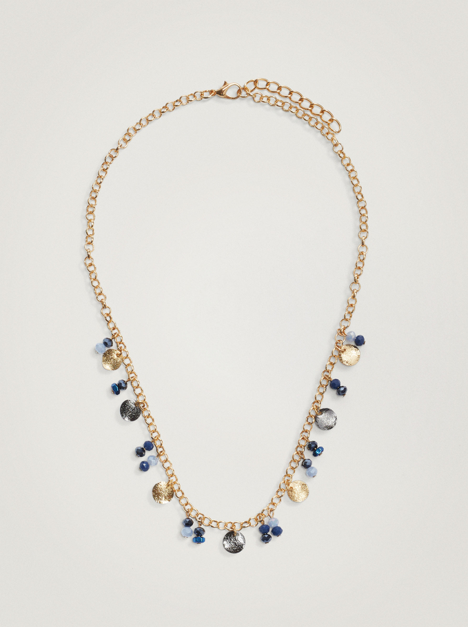 Short Necklace With Crystals, Blue, hi-res