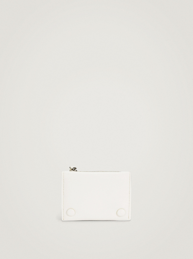Compact Purse With Front Flap Fastening, Ecru, hi-res
