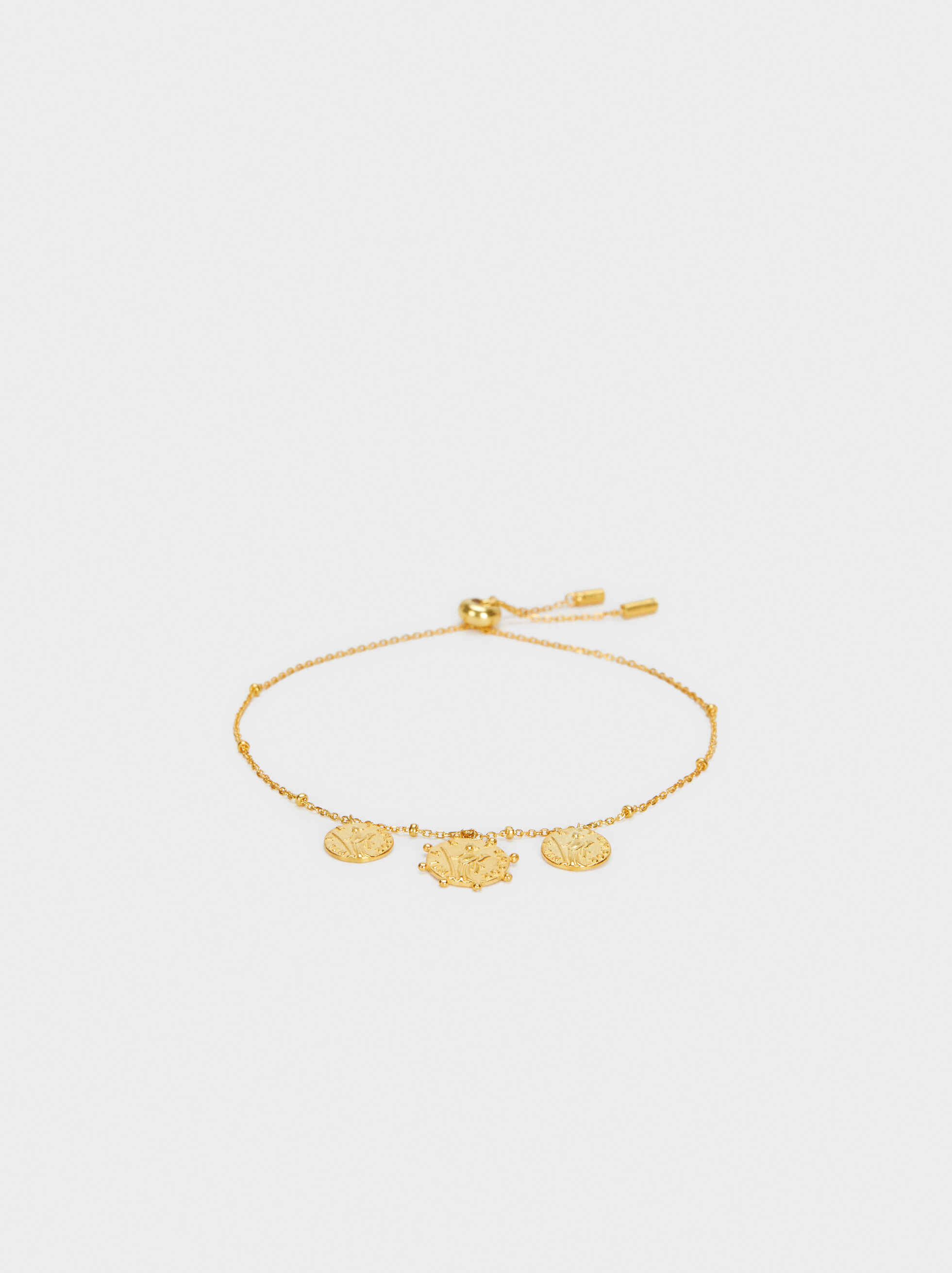 925 Silver Adjustable Bracelet, Golden, hi-res