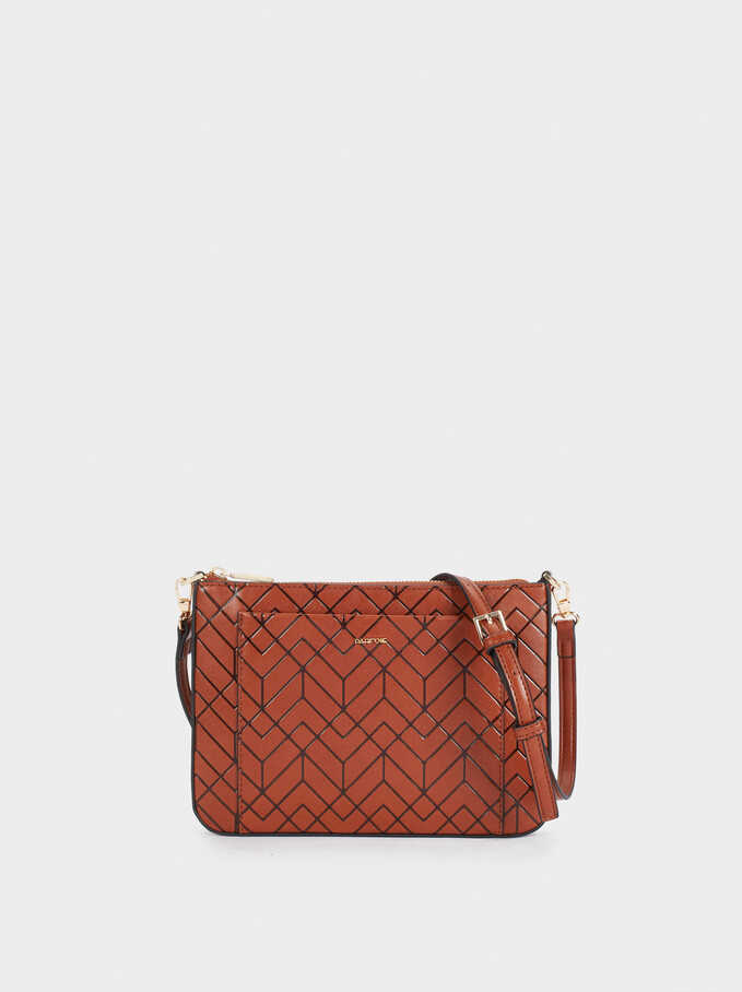 Embossed Crossbody Bag With Outside Pocket, Camel, hi-res