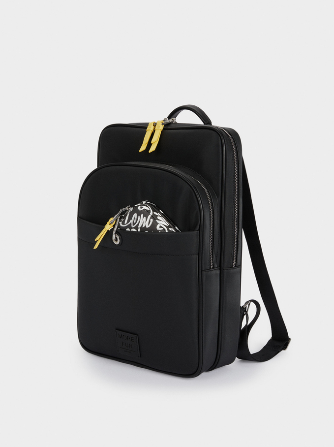 """Nylon Backpack For 15"""" Laptop, Black, hi-res"""