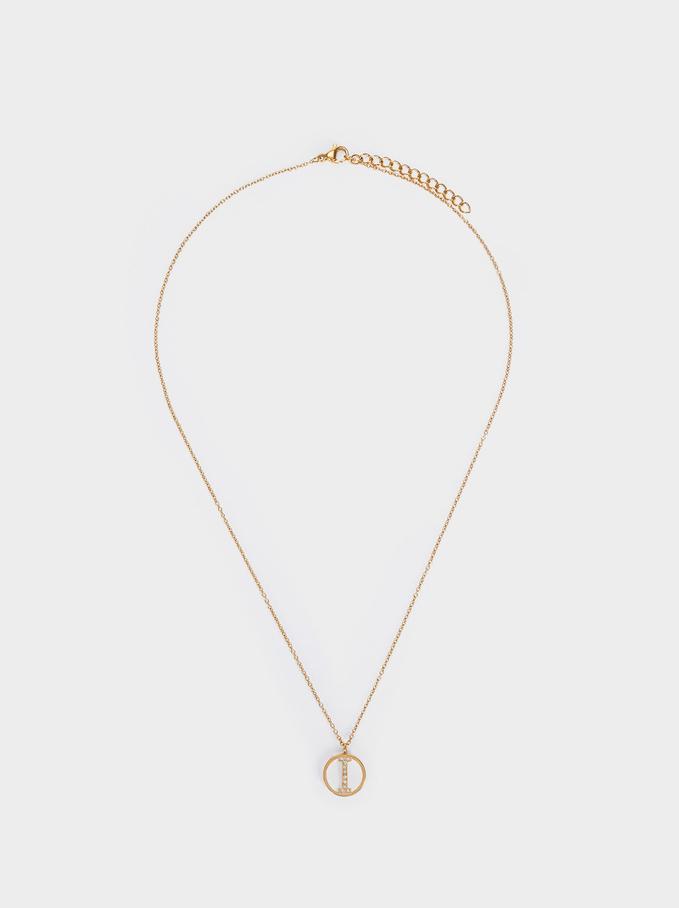 Short Steel Necklace With Letter I, Golden, hi-res