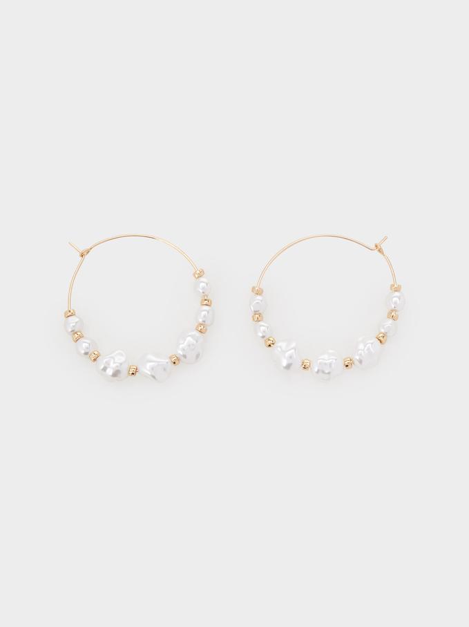 Fancy Pearls Large Hoop Earrings, White, hi-res