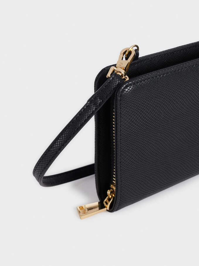 Embossed Purse With Shoulder Strap, Black, hi-res