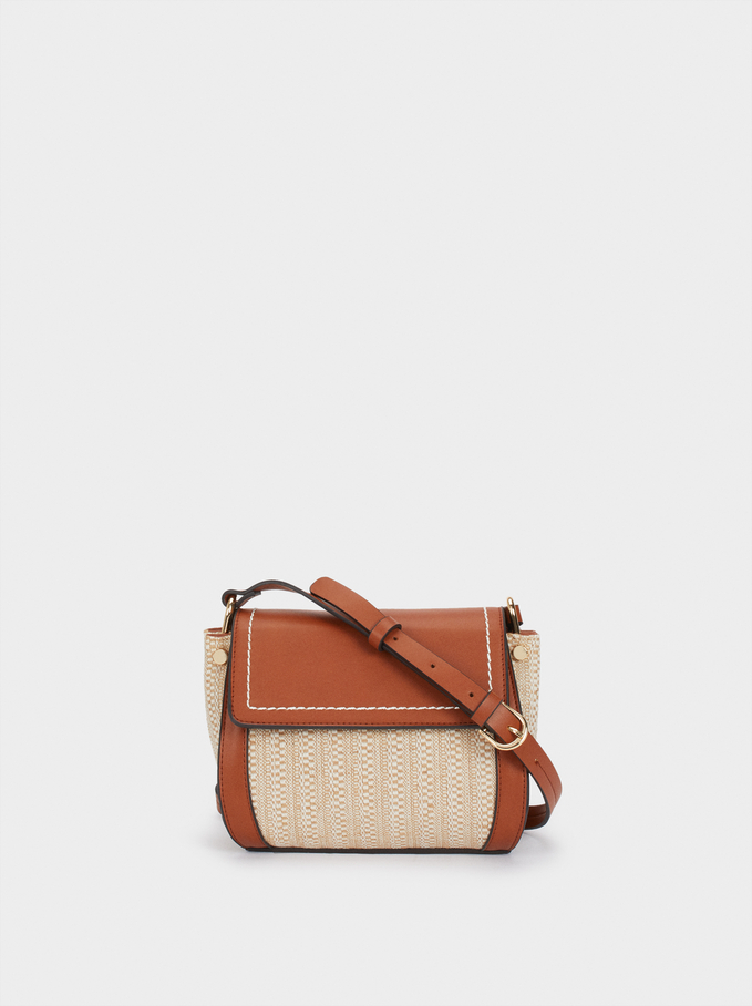 Braided Fabric Crossbody Bag, Beige, hi-res