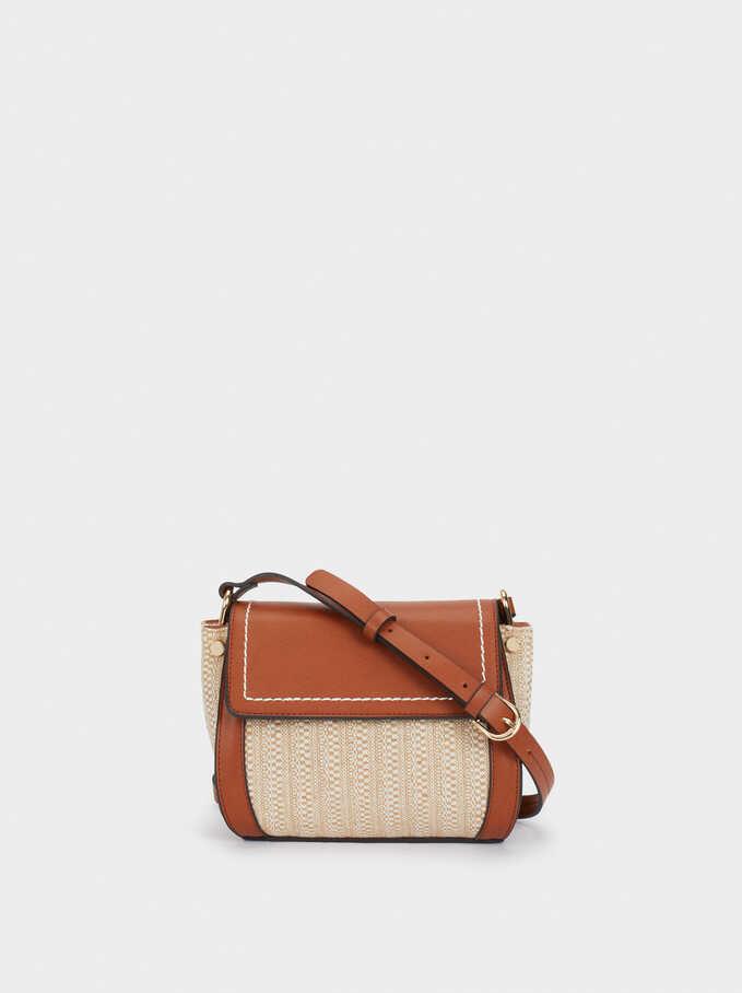 Braided Fabric Crossbody Bag, Beige, hi-res